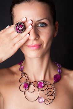 Confession Style Wire Wrapped Jewelry Set by Bijoutistique on Etsy,
