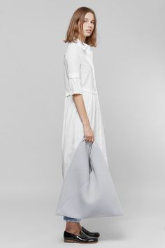 MM6 Maison Margiela Triangle Shopping Tote + Cotton Shirt Dress + Washed Denim Jeans | Dieppa Restrepo Serge Loafers | MYCHAMELEON.COM.AU