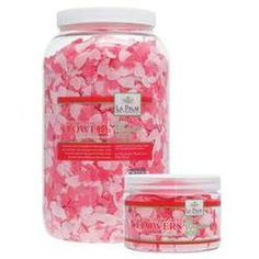 La Palm Bath Flowers - Rose  - Dissolving Pedi Bath Soap / 1 Gallon - Beautiful scented petals float gracefully in water while cleansing spa bath for pedicure treatment.  A delightful pleasure for your senses as the treatment cleanses and moisturizes the