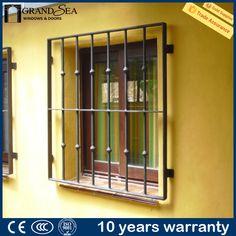 Iron Window Grill, Window Grill Design Modern, Window Design, Iron Windows, Windows And Doors, Modern Entry Door, Entry Doors, Burglar Bars, Aluminum Awnings