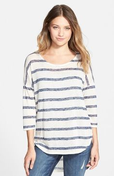 Painted Threads Stripe High/Low Tee (Juniors) (Online Only) available at #Nordstrom