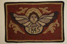Primitive Hand Hooked Angel Rug 1845 Rug Hooking Folk Art         ...~♥~
