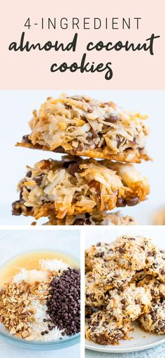 Almond Coconut Cookies - - These coconut almond cookies so easy to whip up -- you only need four ingredients and they're so delicious. No one will guess they're vegan and gluten-free. Coconut Cookies, Healthy Cookies, Healthy Sweets, Healthy Baking, Easy No Bake Cookies, Healthy Breakfasts, Eating Healthy, Healthy Meals, Clean Eating