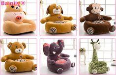 2016 Asiento de bebé de Kawaii lindo de la historieta infantil Sofá para niños cama el dormir del bebé Nest Puff Silla de juguetes de peluche