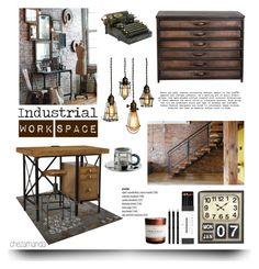 """Industrial Work Space"" by chezamanda ❤ liked on Polyvore featuring interior, interiors, interior design, casa, home decor, interior decorating, Alessi, Mark's Tokyo Edge, H&M e office"