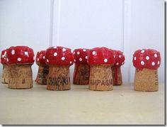 Hoppity Hop Plop The Champagne Corks (or ask around to. And start making these Cute Toadstools. Crafts To Do, Crafts For Kids, Arts And Crafts, Cork Ornaments, Champagne Corks, Cork Art, Wine Cork Crafts, Mushroom Crafts, Autumn Crafts