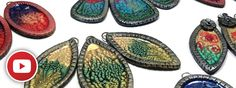 Bright blanks for jewelry made from polymer clay covered with Pebeo Prisme Fantasy paints (5 video)