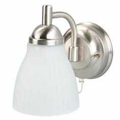 Features brushed nickel finishMade of metal material for durabilityStyled with frosted glass shadeWall Sconce Type: ArmNumber of Lights: 1.0Shade / Glass Type: FrostedWeight (lbs.): 2.15