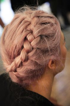 b-almain .. great starburst braid and rosy-blonde hair color.