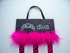Diva Bow Holder Girls Hair Bow Organizer   by MaggieMayeDesigns, $10.95