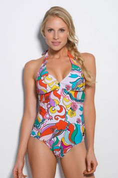 Carnival Halter One Piece - Colorful Retro Print | Hapari