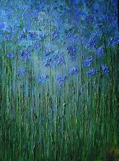 Cornflowers: A field of blue flowers and grasses . The work is acrylic on…