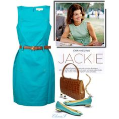 A fashion look from September 2012 featuring button dress, sapphire bangle and gold sapphire earrings. Browse and shop related looks. Jaqueline Kennedy, Jacqueline Kennedy Onassis, Aqua Dress Outfit, Estilo Jackie Kennedy, Cute Fashion, Fashion Outfits, Vintage Outfits, Vintage Fashion, Mode Style