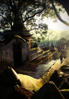 The ancient steps of the Pashupatinath Temple, Kathmandu, Nepal