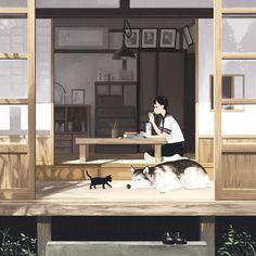 Anime e Manga Hipster Illustration, Manga Illustration, Character Illustration, Hirunaka No Ryuusei, Animation Background, Manga Characters, Environmental Art, Cute Anime Character, Cat Art