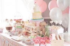 farm dessert table for a girlie farm first birthday party