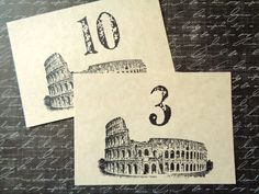 Italian Wedding Table Numbers Rome Colosseum by PapergirlStudios on Etsy https://www.etsy.com/listing/226008150/italian-wedding-table-numbers-rome