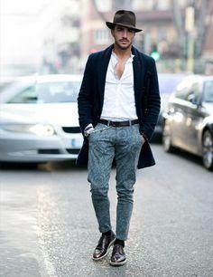 On Elle UK! ;D Men's Collections AW14: Milan Street Style | ELLE UK...  Καλά το παντελονάκι το λατρεύω!!!