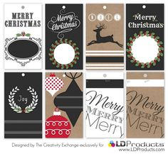 Free printable holiday chalkboard gift tags, gift wrap and sign that you can write on with chalk.  The Creativity Exchange