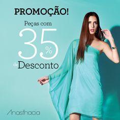 Venha aproveitar!!!   Peças selecionadas com 35% de desconto apenas na loja física.   Endereço: Rua T-28, nº 1069, Loja 4 - Setor Bueno. Goiânia-GO.  #Promoção #Anasthacia #Oferta #Moda