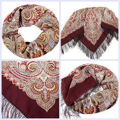 "Russian Pavlovsky Posad shawl  ""February"" ""Февраль"""