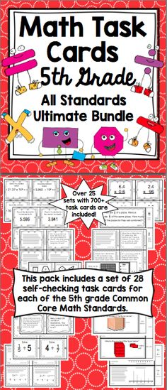 5th Grade Math Task Cards: Your planning just got easier with these 5th grade math Common Core task cards. This 450+ page resource has a set of 28 task cards for each of the 5th grade Common Core Standards in math. Wow! $