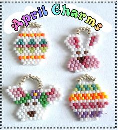 Julie Ann Smith Designs APRIL Charm Pack Brick Stitched Charms Pattern