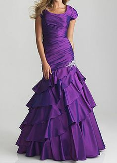 Modest Taffeta Mermaid Scoop Neckline Short Sleeves Ruched Layer Full Length Prom Dress