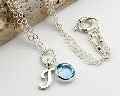 Birthstone Jewelry March Birthstone Necklace  by DasheDesigns, $24.00
