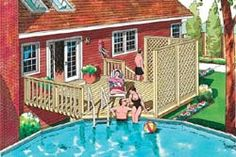 A deck off the back porch, that leads to a pool- summer bliss.