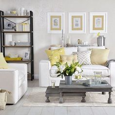 Lemon Yellow Grey And Living Room Decor