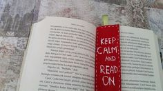 """""""Keep calm and read one"""" #felt #red #bookmark"""
