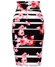 cb21a9800 Thalia Sodi Floral-Stripe Scuba Pencil Skirt - Skirts - Women - Macy's Thalia  Sodi