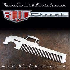 Truck, metal comb, bottle opener, beard comb, mustache comb, groomsman gift, best man gift, fathers day, husband gift, birthday, gift for dad, man gift, valentines day, or any occasion!