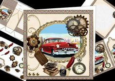 8x8 1950 s vintage car for the men mini kit on Craftsuprint designed by Carol Smith - a mini kit for the men with a vintage car theme, has a 1950's car framed and decorated with old watch, books with ink well and steampunk elements co-ordinating tags say... happy birthday, happy fathers day, dad, granddad, brother and son also a blank tag for the greeting of your choice.Kit contains main topper, decoupage elements, insert plate, gift tag, bookmark and gift sack.thank you for looking please…
