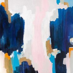 Ava, 30x30 abstract acrylic painting , gold, blue, pink , Free Shipping