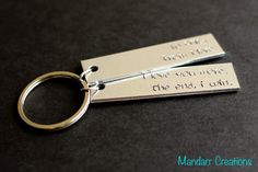 Personalized Double Tag Keychain I Love You by MandarrCreations