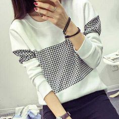 Splicing Houndstooth sweatshirt for women white crew neck clothing