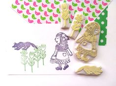 little red riding hood hand carved rubber stamp by talktothesun