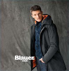 British model Danny Beauchamp sports a Blauer USA parka. Men's Coats, Style Guides, Parka, Bomber Jacket, British, Winter, Face, Sports, Model