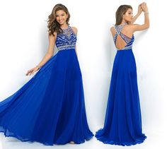 Wholesale Prom Dresses - Buy Dancing Royal Blue Prom Dresses 2014 Sheer Neck Cross Back Beading Bodice Sexy Prom Gowns Sweep Train A-Line Chiffon Dresses, $118.56 | DHgate