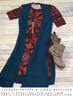LuLaRoe Julia Dress + Joy long vest. Lularoe outfit inspiration.