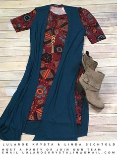 LuLaRoe Julia Dress + Joy long vest. Lularoe outfit inspiration.