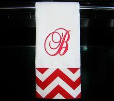 Monogrammed Chevron15x25 Kitchen Towel or Hand Towel  by DesignsByThem, $14.00