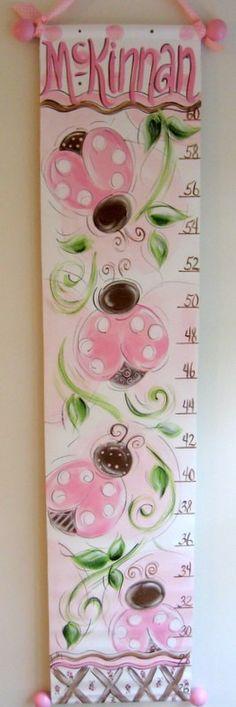 Pink and Chocolate Lady Bugs Growth Chart por SassyfrasDesignz