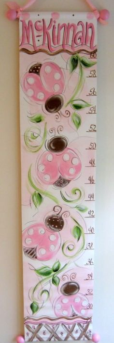 Pink and Chocolate Lady Bugs Growth Chart by SassyfrasDesignz, $59.99