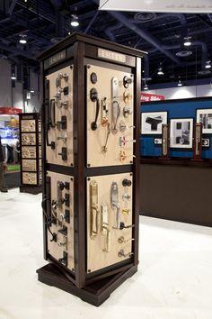 Emtek door hardware display at kbis Display Design, Store Design, Display Ideas, Design Ikea, Showroom Interior Design, Warehouse Design, Bathroom Showrooms, Design Food, Design Furniture