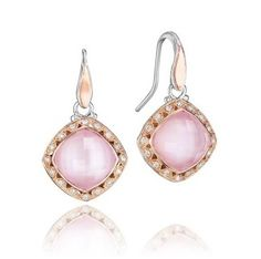 With hues of pale pink and light-catching lavender, Clear Quartz is layered over iridescent peony Pink Mother-of-Pearl for a bold statement ring with diamond crescents framing the cushion shape. Available through Marci Jewelry of Bellevue and Tacori.