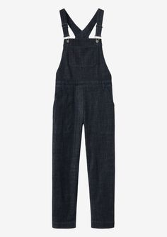 Best dungaree in deep indigo-dyed, medium-weight, stretch denim. Easy, straight leg. Four pockets in the trouser. One bib pocket. Adjustable straps. Three buttons to fasten right side. Metal fitments. Twin needle topstitching.