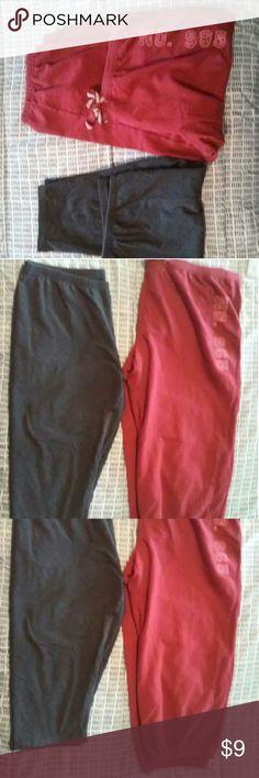 2 pair capris 1 pair red Mossimo elastic /drawstring waist and elastic cuff and 1 pair Simply Vera WANG do gray elastic waist. Pants Capris